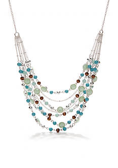 Nine West Vintage America Collection Turquoise Multi Row Frontal Necklace