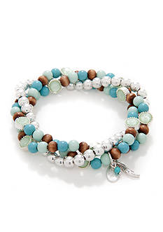 Nine West Vintage America Collection Turquoise Bead Stretch Bracelet