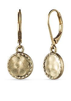 Nine West Vintage America Collection Leverback Gold-Tone Hammered Drop Earring