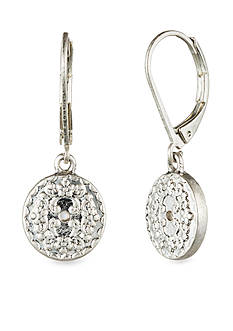 Nine West Vintage America Collection Leverback Worn Silver-Tone Coin Drop Earring