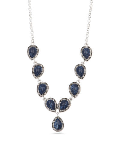 Nine West Vintage America Collection Silver-Tone and Blue Y Necklace