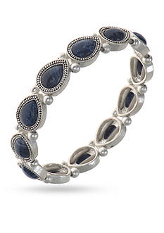 Nine West Vintage America Collection Silver-Tone and Blue Stretch Bracelet