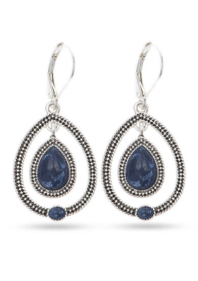 Nine West Vintage America Collection Silver-tone and Blue Orbital Drop Earrings