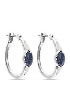 Nine West Vintage America Collection Silver-Tone and Blue Stone Hoop Earrings