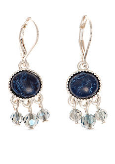Nine West Vintage America Collection Silver-Tone and Blue Shaky Drop Earrings