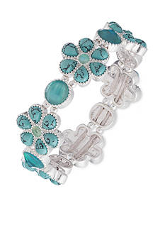 Nine West Vintage America Collection Silver-Tone Turquoise Flower Stretch Bracelet