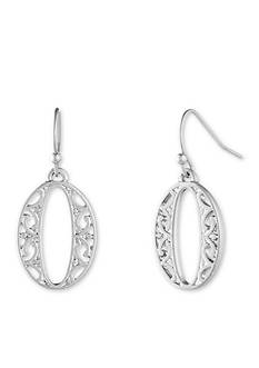 Nine West Vintage America Collection Silver-Tone Open Filigree Small Drop Earrings