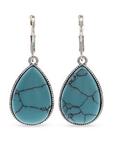 Nine West Vintage America Collection Silver-Tone Turquoise Teardrop Drop Earrings