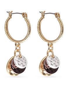 Nine West Vintage America Collection Tri-Tone North Shore Hoop Earrings