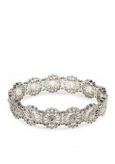 Nine West Vintage America Collection Silver-Tone Starlight Metals Crystal Stretch Bracelet