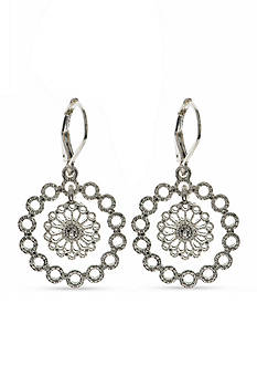 Nine West Vintage America Collection Silver-Tone Starlight Metals Crystal Orbital Drop Earrings