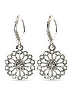 Nine West Vintage America Collection Silver-Tone Starlight Metals Crystal Drop Earrings