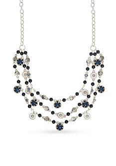 Nine West Vintage America Collection Silver-Tone and Blue Dramatic Three Row Statement Necklace
