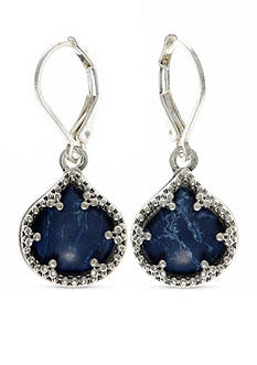 Nine West Vintage America Collection Silver-Tone Denim Lever Back Drop Earrings