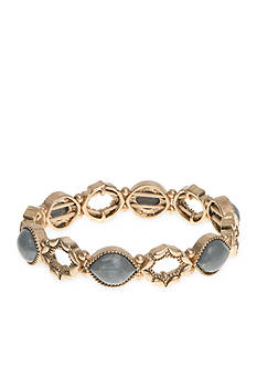 Nine West Vintage America Collection Gold-Tone Bazaar Bounty Gray Stretch Bracelet
