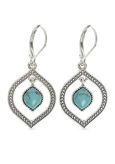 Nine West Vintage America Collection Silver-Tone Turquoise Orbital Drop Earrings