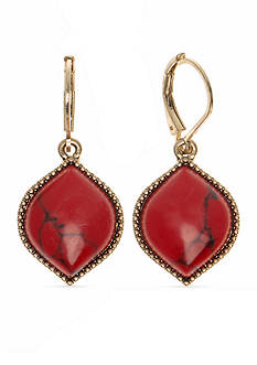 Nine West Vintage America Collection Gold-Tone Bazaar Bounty Coral Euro Wire Drop Earrings
