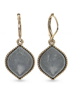 Nine West Vintage America Collection Gold-Tone Bazaar Bounty Gray Euro Wire Drop Earrings