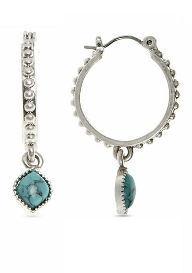 Nine West Vintage America Collection Silver-tone and Turquoise Drop Hoop Earrings