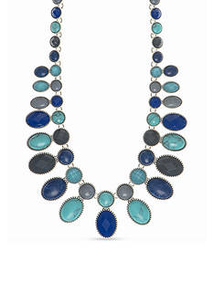 Nine West Vintage America Collection Silver-Tone Set In Stone Blue Multi Drama Necklace