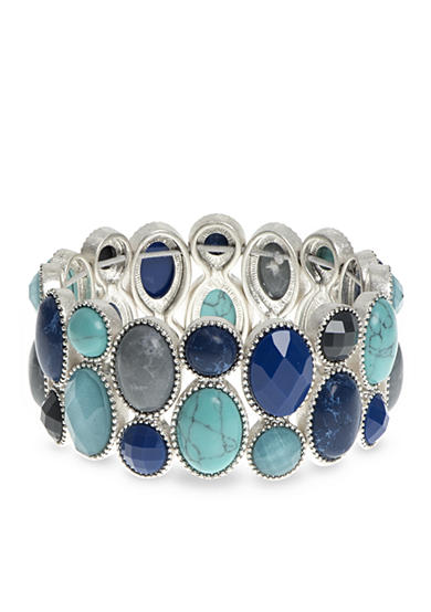 Nine West Vintage America Collection Silver-Tone Set In Stone Blue Multi Large Stretch Bracelet