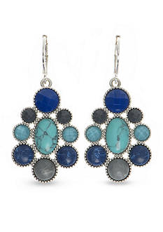 Nine West Vintage America Collection Silver-Tone Set In Stone Blue Multi Chandelier Earrings
