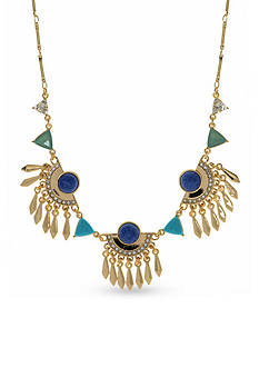 Nine West Vintage America Collection Gold-Tone Fall Glow Items Blue Frontal Necklace