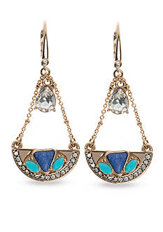 Nine West Vintage America Collection Gold-Tone Fall Glow Items Blue Medium Drop Earrings