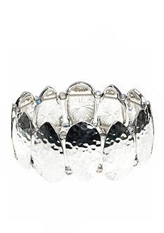 Nine West Vintage America Collection Silver-tone Hammered Stretch Bracelet