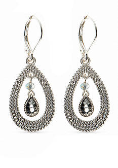 Nine West Vintage America Collection Silver-Tone Open Teardrop Earrings