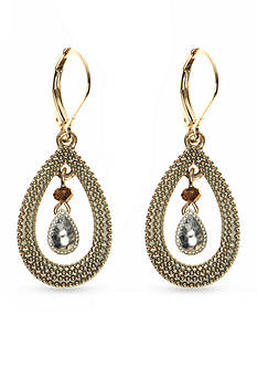 Nine West Vintage America Collection Tri-Tone Open Teardrop Earrings