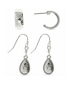 Nine West Vintage America Collection Silver-Tone Duo C Hoop and Teardrop Earrings