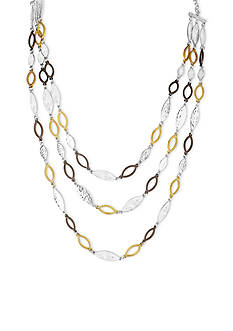Nine West Vintage America Collection Tri-Tone In The Mix Multi Row Collar Necklace