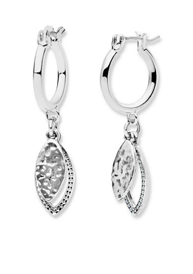 Nine West Vintage America Collection Silver-Tone In The Mix Drop Off Hoop Earrings
