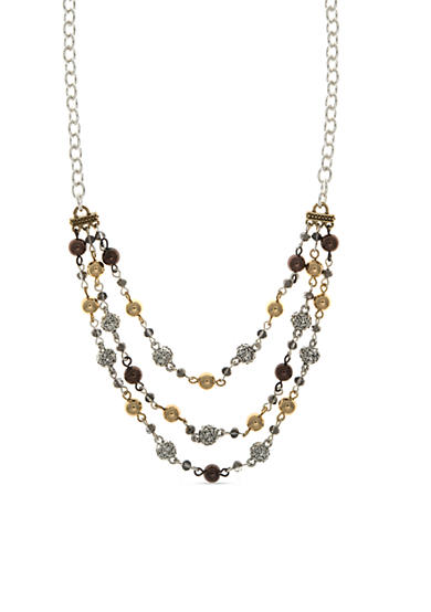 Nine West Vintage America Collection Two-Tone Round About Beaded Multi-Strand Necklace