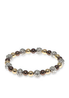 Nine West Vintage America Collection Two-Two Round About Mixed Bead Stretch Bracelet