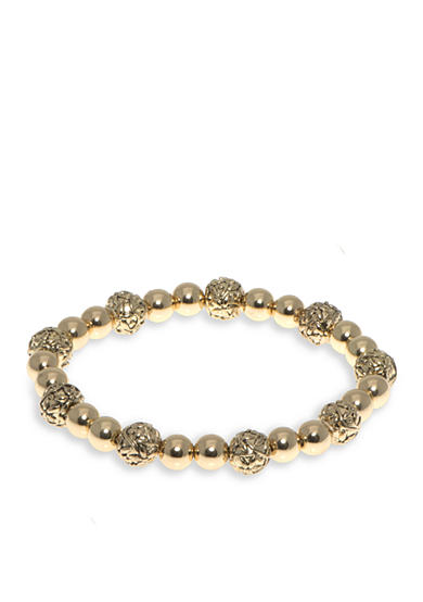 Nine West Vintage America Collection Gold-Tone Round About Beaded Stretch Bracelet