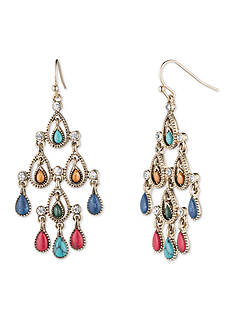Nine West Vintage America Collection Gold-Tone Multi Color Large Chandelier Earrings