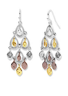 Nine West Vintage America Collection Tri-Tone Mover And Shaker Chandelier Earrings