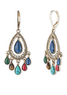 Nine West Vintage America Collection Gold-Tone Multi Color Chandelier Earrings