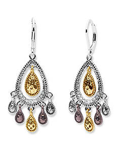 Nine West Vintage America Collection Tri-Tone Mover And Shaker Orbital Chandelier Earrings