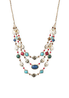 Nine West Vintage America Collection Gold-Tone Fire Falls Multi Stone Layered Frontal Necklace