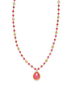 Nine West Vintage America Collection Gold-Tone Fire Falls Coral Long Beaded Pendant Necklace