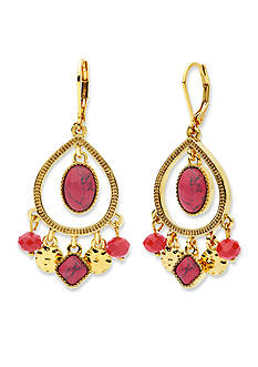 Nine West Vintage America Collection Gold-Tone Fire Falls Coral Shakey Orbital Chandelier Earrings