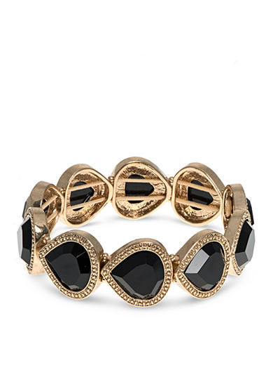 Nine West Vintage America Collection Gold-Tone Desert Bloom Jet Teardrop Stretch Bracelet