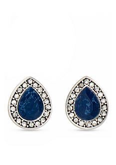 Nine West Vintage America Collection Silver-Tone Denim Blue Stud Earrings