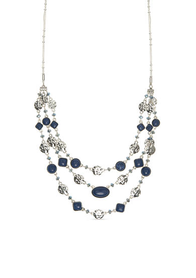 Nine West Vintage America Collection Silver-Tone Fire Falls Multi Bead Multi-Strand Necklace