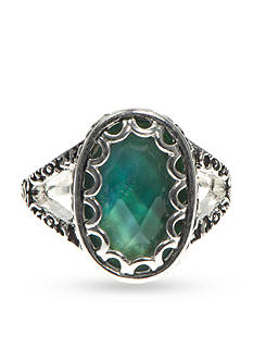 Nine West Vintage America Collection Silver-Tone Fire Falls Multi Oval Aquamarine Ring