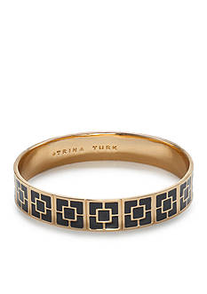 Trina Turk Palm Springs Gold-Tone Black Block Bangle Bracelet