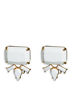 Trina Turk Gold-Tone White Cluster Clip Earrings
